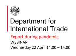 Webinar on export during pandemic